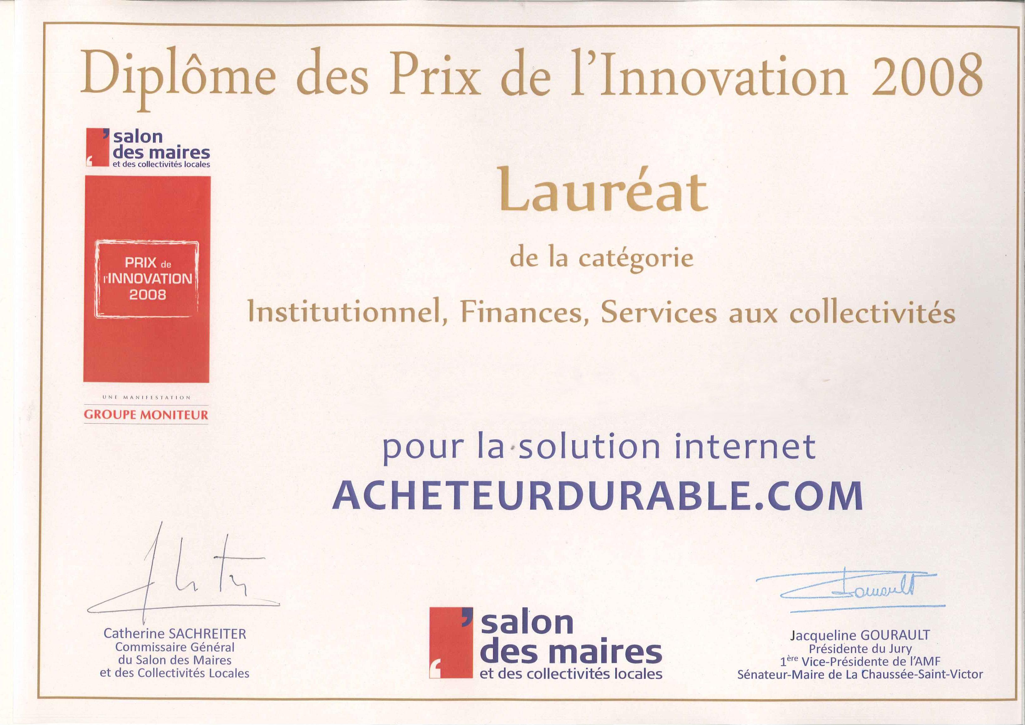 Prix de l innovation 2008 salon des maires et des collectivit s locales paris acheteur - Salon des maires et des collectivites locales ...